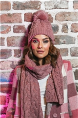 Rant and Rave  Anne Hat & Scarf Set Pink