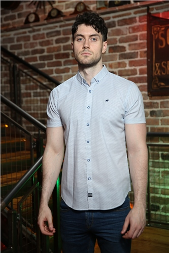 Outrage Booth Short Sleeve Shirt White Print  - Click to view a larger image
