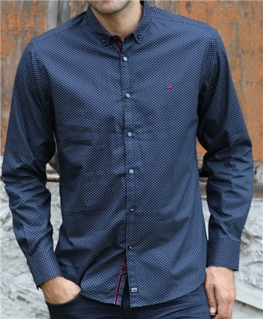 Outrage Morrie Long Sleeve Shirt Navy