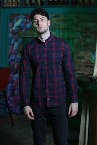 Outrage Toby Shirt Burgundy Check